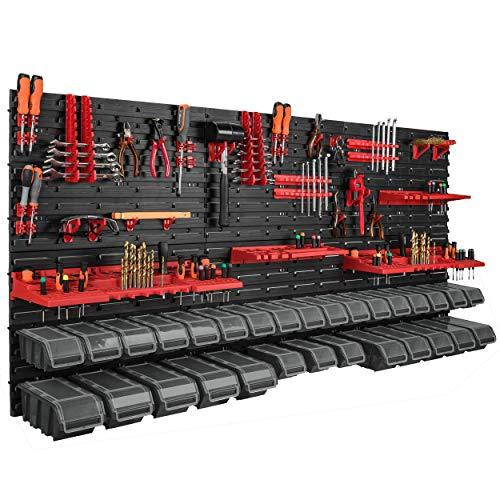 178 x 78 cm Wandregal 30 Sichtlagerkästen Deckel Werkzeughalter Stapelboxen Werkstatt Werkbank