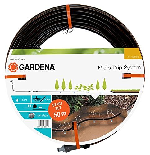 Gardena Start-Set Tropfrohr für Pflanzenreihen unterirdisch 13.7 mm: Wassersparender Tropfschlauch zur...