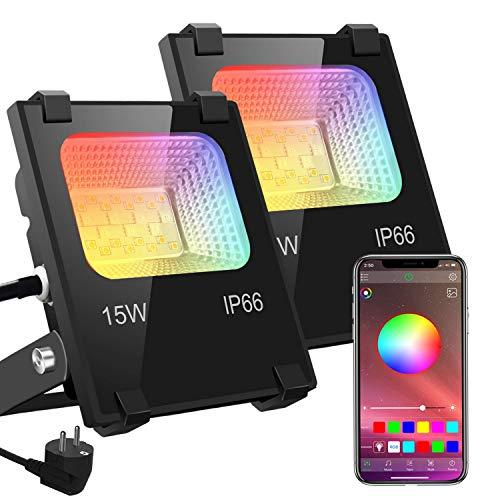 RGB LED Strahler Fluter Außen Bluetooth Objektbeleuchtung 2er Pack 15W LED Fluter Flutlichtstrahler, IP66...