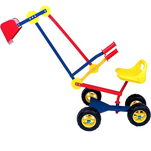 Spielwerk Deuba Kinderbagger Sitzbagger 360 Grad drehbar Kippschaufel Sitz Reifen Sandkastenbagger Sandbagger...