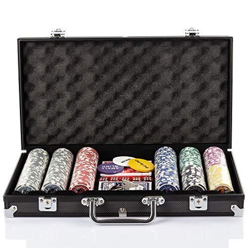 Grandma Shark Texas Holdem Poker Chips mit Aluminiumgehäuse Blackjack Gambing mit Tragetasche und Casino...