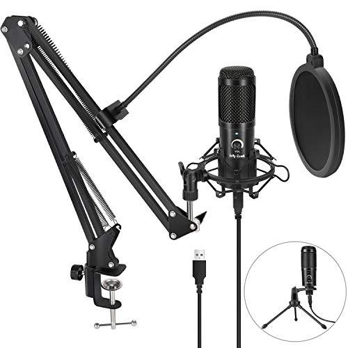 Jelly Comb USB Mikrofon PC, Professionelles Kondensator Computer Mikrofon, 192kHZ/24bit Podcast Mikrofon mit...