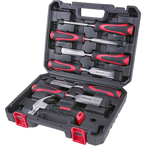 Holzmeißel Set, Meterk 8PCS Hohe Qualität Stechbeitel Satz, 6PCS 55 # Holzmeißel aus Kohlenstoffstahl, 1PCS...