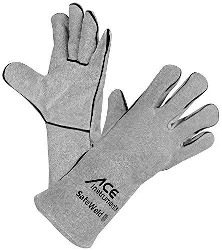 ACE SafeWeld Schweißerhandschuhe - Lange Leder-Schutz-Handschuhe für Schweißer - EN 388/12477 - Weiß/Grau...