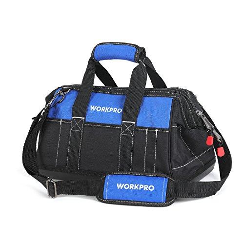 WorkPro Werkzeugtasche mit breiter Öffnung und wasserfestem Boden aus geformtem Kunststoff, 40,6 cm