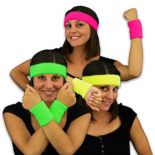 Eventlights Neon 80er Schweißbänder - 3 Farben Set - pink, grün, gelb - Armbänder - Stirnbänder -...