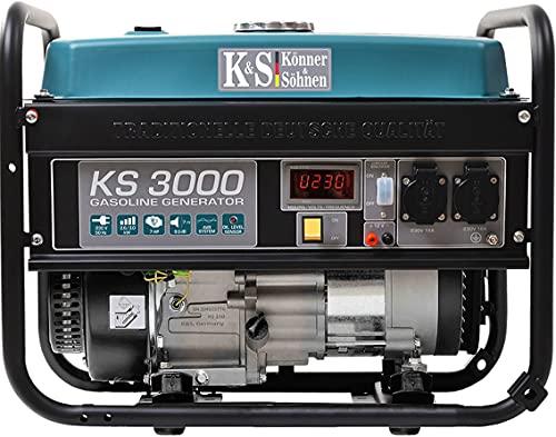 Könner & Söhnen KS 3000 Stromerzeuger, 7 PS 4-Takt Benzinmotor, Kupfer Alternator, 3000 Watt, 16A, 230V...