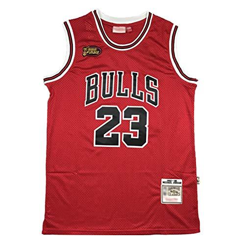 Jordan 98 Finale Logo Basketball Trikot, 23 Bulls Klassische Basketballuniform, Unisex Retro Stickerei...