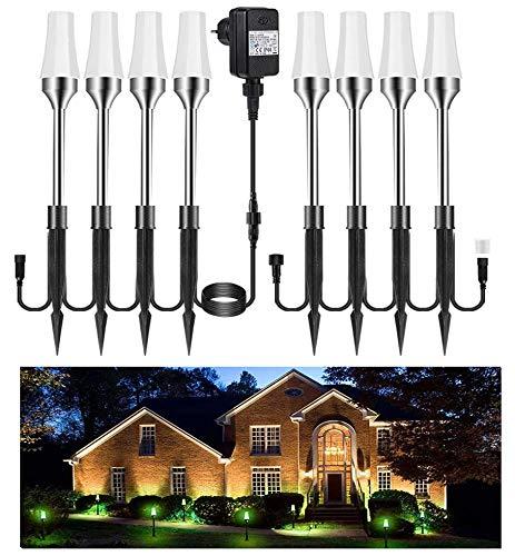 Gartenleuchte RGB 8er Greenclick Gartenbeleuchtung mit Erdspieß LED Rasenlicht, Wasserdicht IP65...