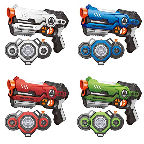 AMOSTING Laser Tag, 4 Sätze Lasertag mit Nebel und Westen, Infrarot Laserpistole für Erwachsene und Kinder,...