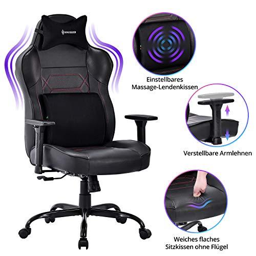 VON RACER großer Massage Gaming Stuhl - Memory Schaum Lendenkissen und Kopfstütze, Schwarz