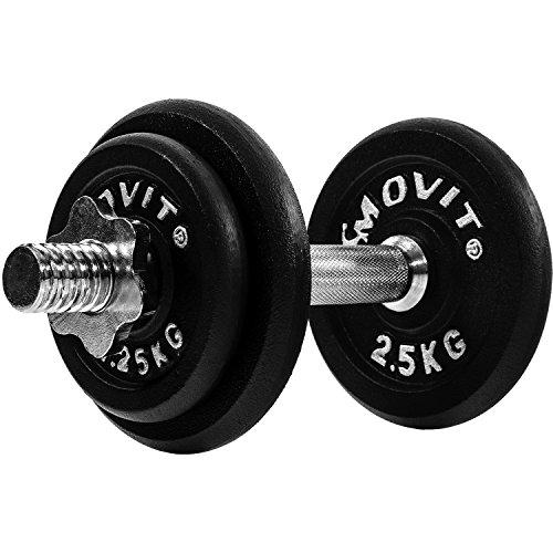 Movit® Kurzhantel PRO Set, Gusseisen Hantel, 10kg, 15kg, 20kg, 25kg, 30kg, Stange 30mm Standardnorm, Griff...