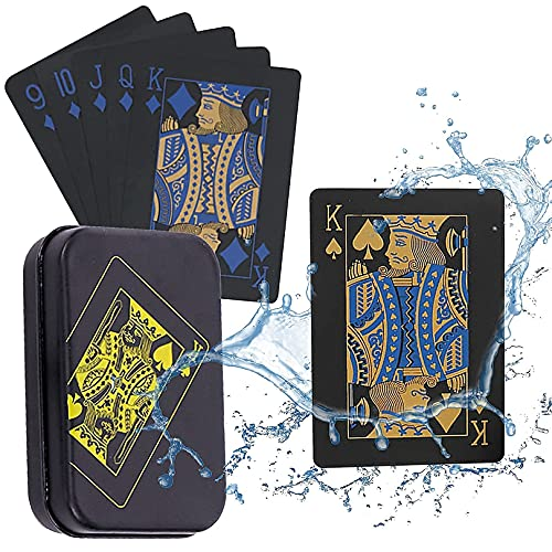 Spielkarten Plastic wasserdichte Pokerkarten, Schwarze Spielkarten, Professionelle Pokerkarten,Poker Karten...