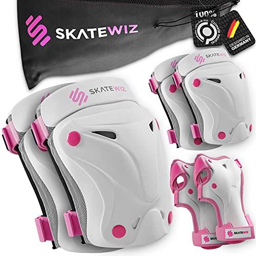SKATEWIZ Protektoren Kinder - Protect-1 Schutzausrüstung Inliner Kinder - Größe S in ROSA - Schoner Set...
