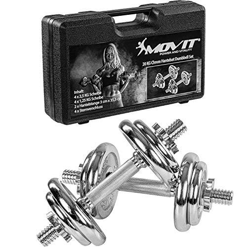 Movit® 20kg Kurzhanteln PRO 2er Set im Koffer, Chrom Gusseisen Hanteln, Stange 30mm Standardnorm, Griff...