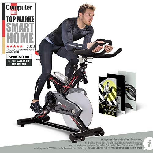 Sportstech Profi Indoor Cycle SX400 – Deutsche Qualitätsmarke- mit Video Events & Multiplayer App, 22KG...