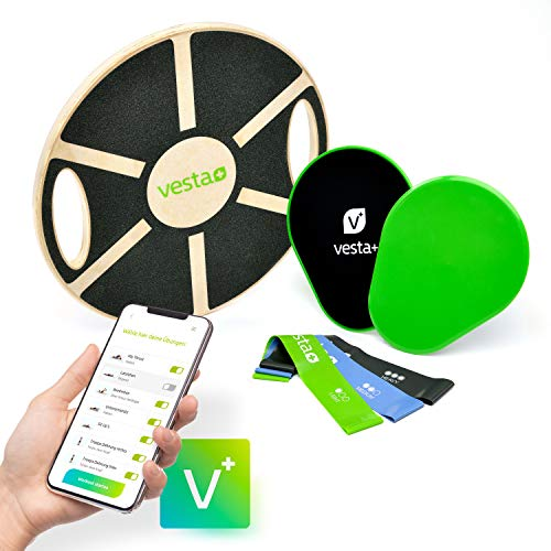 Vesta+ Balance Board Holz + Fitness App + 3X Fitnessbänder + 2X Slider, Wackelbrett Balance Board Erwachsene...
