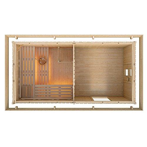 Gartensauna von ISIDOR, Outdoorsauna FAGUS mit Fenster und Vorraum (ohne Harvia BC80 mit Fußboden im Vorraum)