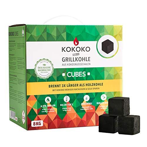 KOKOKO CUBES Premium Grillkohle, 8 kg Bio Kokos Grillbriketts in Würfelform