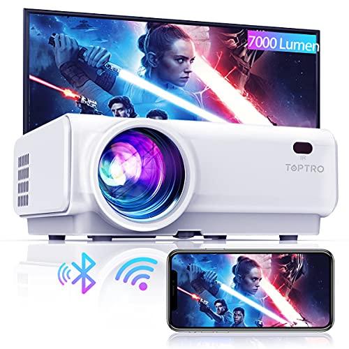 TOPTRO Mini Beamer, 7000 Lumen, WiFi Bluetooth Beamer Projektor, Support 1080P Full HD, mit HiFi-Lautsprecher,...