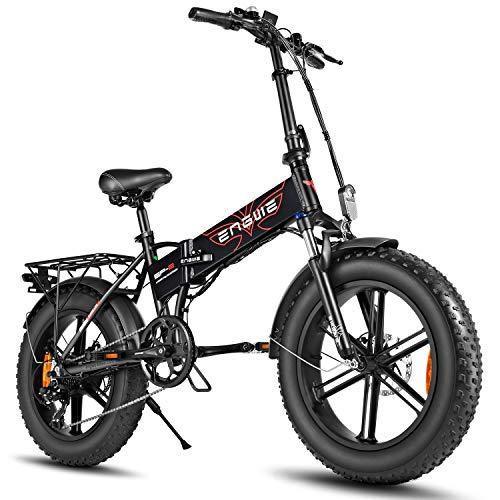 ENGWE Elektro-Mountainbike 500W 20'Fettreifen Elektrisch klappbares Strand-Snowbike für Erwachsene,...
