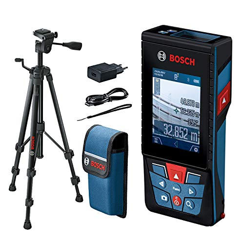 Bosch Professional Laser Entfernungsmesser GLM 120 C mit Stativ BT 150 (Kamera, Bluetooth-Datentransfer, max....
