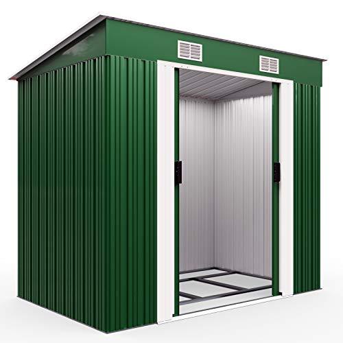 Deuba L Metall Gerätehaus 2m² mit Fundament 196x122x180cm Schiebetür Anthrazit Geräteschuppen Gartenhaus...