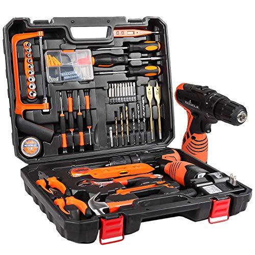 LETTON Werkzeugkoffer mit Bohrer 16,8 V Akku für 60 Zubehörteile Home Cordless Repair Kit Tool Set