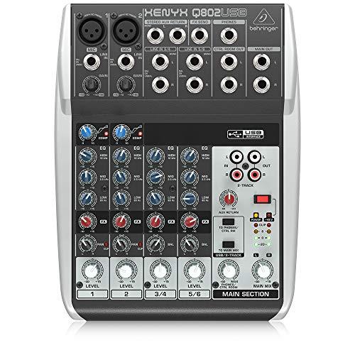 Behringer Q802USB Xenyx Premium 8-Kanal 2-Bus Mixer mit Mic Preamps/Kompressoren/British EQs und USB/Audio...