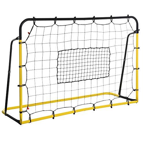 HOMCOM Kickback Fußball Rebounder Tor Rückprallwand Netz für Fußball, Basketball und Baseball, Stahl+PE,...