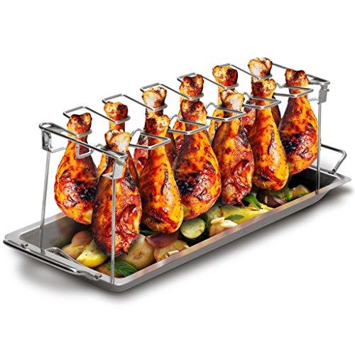 Grill Republic Premium Hähnchen-Halter (BBQ-Rack) I Hähnchenschenkelhalter aus Edelstahl für bis zu 12...