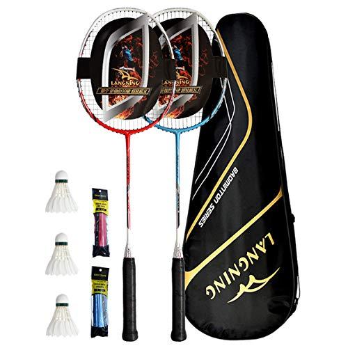 LANGNING badmintonschläger Set 2 Profi Light Heimtrainings-Set,Carbon der gesamte Schläger ist aus...