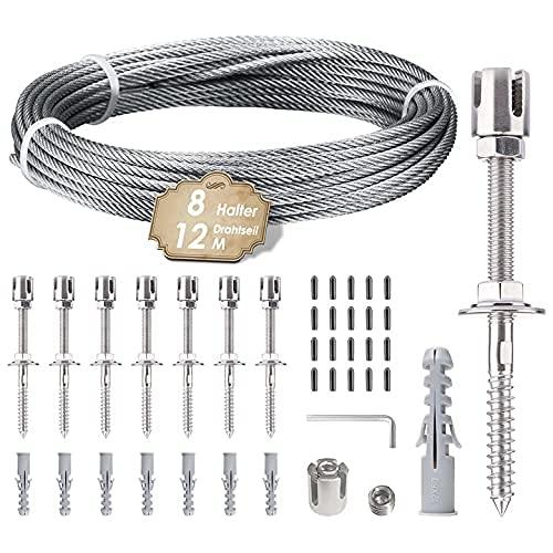 Vogvigo Rankhilfe aus Edelstahl für Kletterpflanzen, 12m Rankhilfe Edelstahl Seilsystem mit 3mm Drahtseil und...