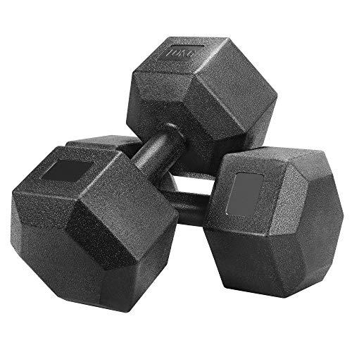 Yaheetech Kurzhanteln 2 Stück Hexagon Hanteln 10KG Gummi Gusseisen Gewichte Training für Aerobic, Gymnastik...