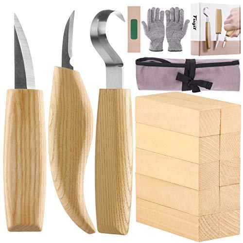 Fuyit Holz Schnitzwerkzeug Set-Beinhaltet 6 Teiliges Holz Schnitzmesser Set &10 Pcs Linde Holzblöcke für...