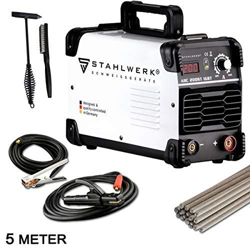 STAHLWERK ARC 200 ST IGBT - Schweißgerät DC MMA/E-Hand Welder mit echten 200 Ampere sehr kompakt, weiß, 5...
