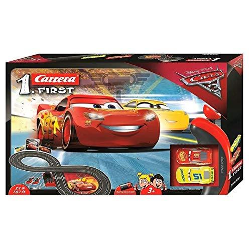 Carrera FIRST Disney·Pixar Cars 3 – Carrerabahn für Kleinkinder – Elektrische Autorennbahn mit McQueen &...