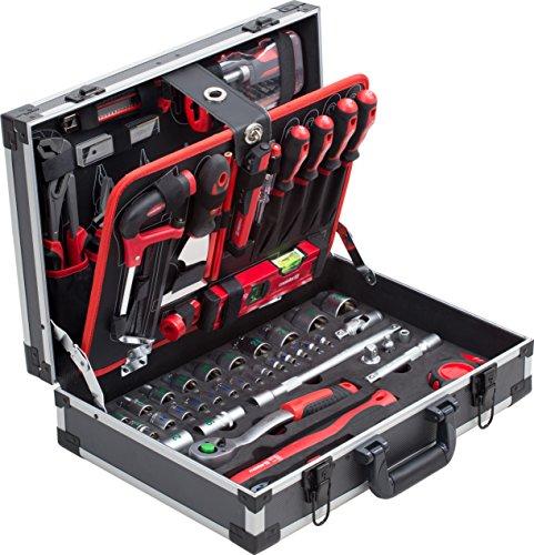 Meister Werkzeugkoffer 131-teilig - Stabiler Alu-Koffer - Werkzeug-Set - Für Haushalt, Garage & Werkstatt /...