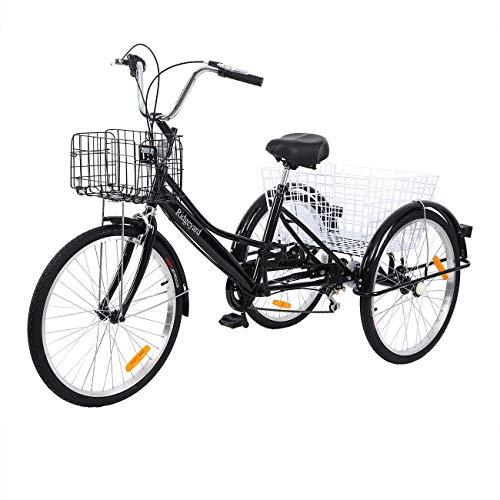 Yonntech 24 Zoll Zahnräder Dreirad für Erwachsene 7 Gänge Erwachsenendreirad Shopping mit Korb 3 Rad...