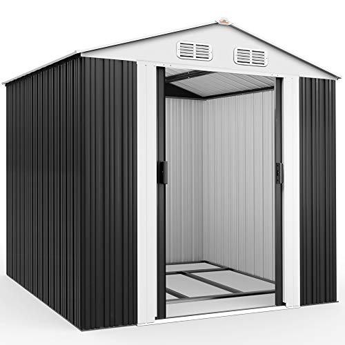 Deuba XXL Metall Gerätehaus 5m² mit Fundament 257x205x177,5cm Schiebetür Anthrazit Geräteschuppen...