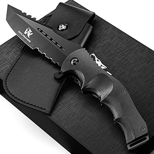 Wolfgangs UNDIQUE Einhand-Messer/Survival-Messer mit Multifunktions-Klinge/Outdoor-Messer in ansprechendem...