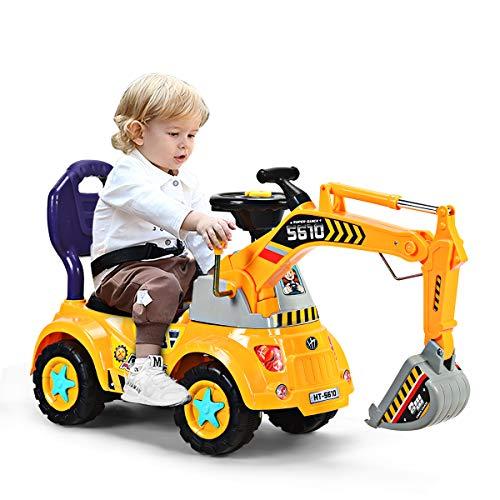 DREAMADE Sitzbagger mit Licht und Sound für Kleinkinder(3-5 Jahre alt ), Kinderauto Bagger aus PP Material,...