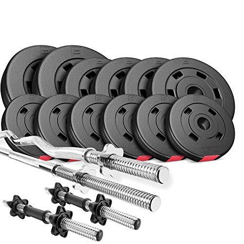 Hop-Sport Hantelset 45 kg 1x Langhantel, 1x SZ Stange, 2X Kurzhanteln, Gewichte 2x5kg / 4x2,5kg / 6x1,25kg