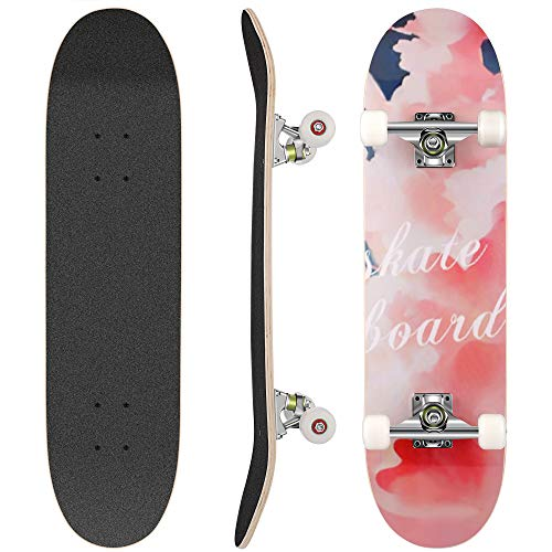 WeSkate Skateboard Komplett Board 79x20cm Holzboard ABEC-7 Kugellager 31 Zoll 7-lagigem Ahornholz, 92A Rollen...
