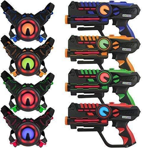 ArmoGear Laser-Tag - Laser-Tag-Pistolen mit 4er-Set - Mehrspieler-Laser-Tag-Set für Teenager-Kinder und...