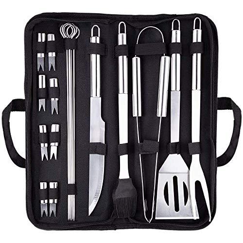 Grillbesteck Set, 18-teilig Grillwerkzeug-Set , BBQ Grillbesteck Tool Set Grillset, Grillwender, Grillbürste,...
