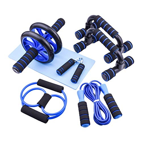 ECOMP AB Roller Bauchtrainer 6in1 Fitnessset mit Kniepolster, Liegestützgriffe/Push up Stand, Fitness...