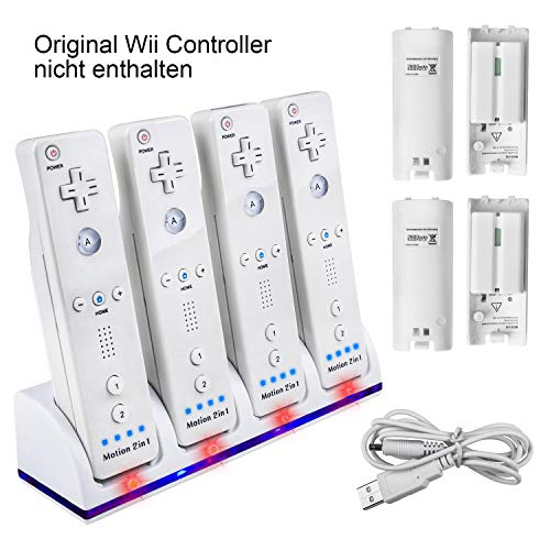 Wii Fernbedienung Ladegerät Set,TechKen Wii Remote Controller Ladestation Docking Station Wii Charger Wii...