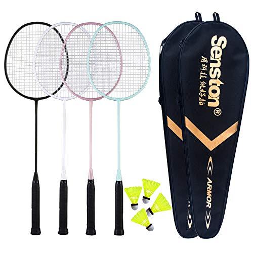 Senston Carbon Badmintonschläger 4er Set Badminton Schläger Leichtgewicht Badminton Schläger...