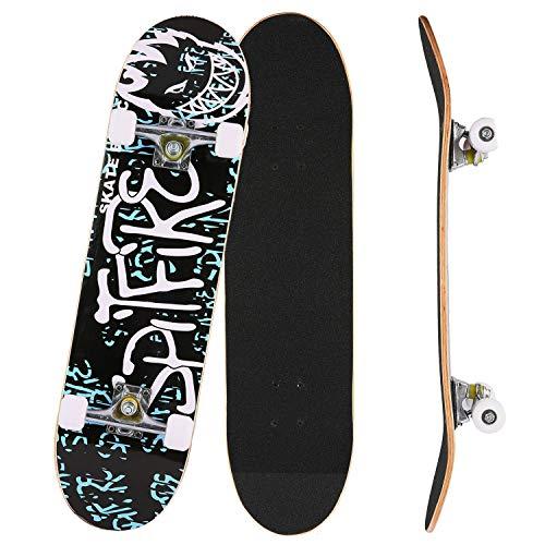 Bunao Skateboard Komplettboard 31 x 8 Zoll mit ABEC-7 Kugellager 9-lagigem Ahornholz für Kinder Jungendliche...